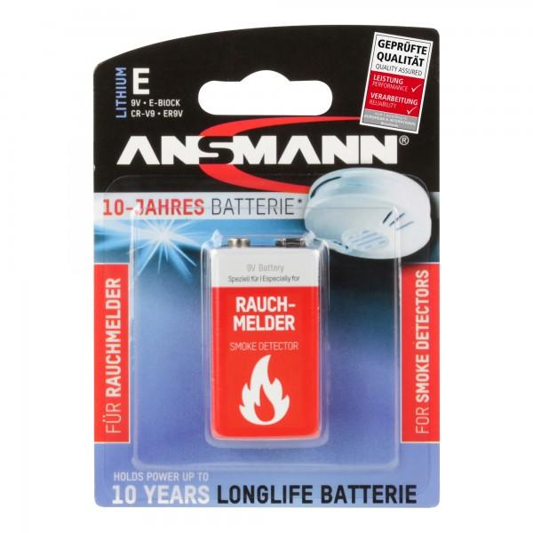 ANSMANN 5021023-01 Zehn-Jahre-Lithiumbatterie für Rauchmelder 9V-E-Block, longlife