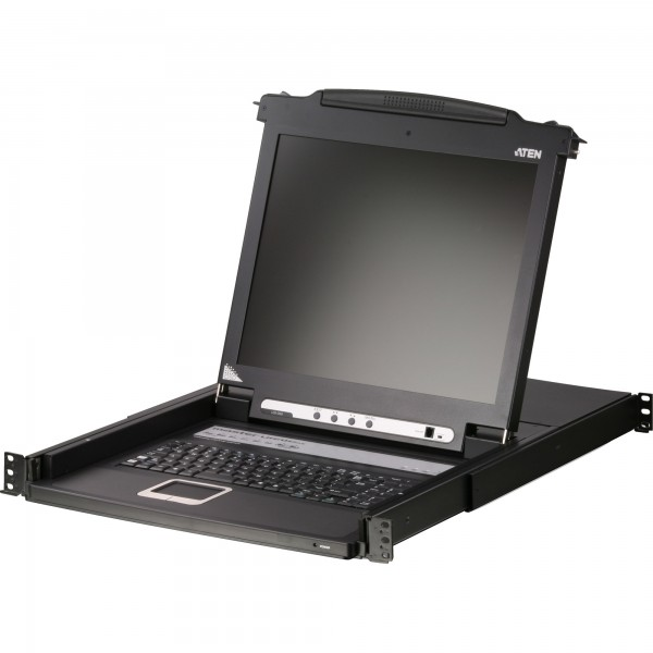 "ATEN CL1016M KVM-Switch 16-fach, Slideaway-Konsole mit 17""-Display, 19-Zoll-Rackmontage, DE-Layout"