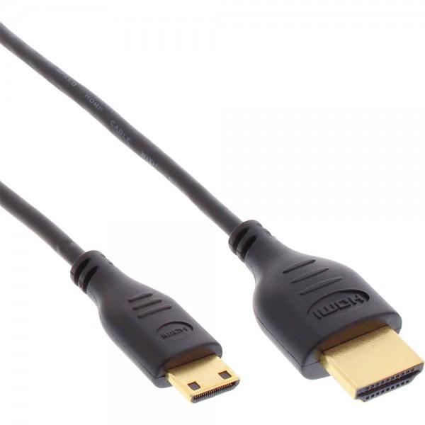 InLine® HDMI Superslim Kabel A an C, HDMI-High Speed mit Ethernet, Premium, schwarz / gold, 1m