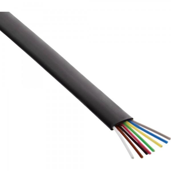 InLine® Modularkabel, 8adrig Flachband schwarz, 100m Ring