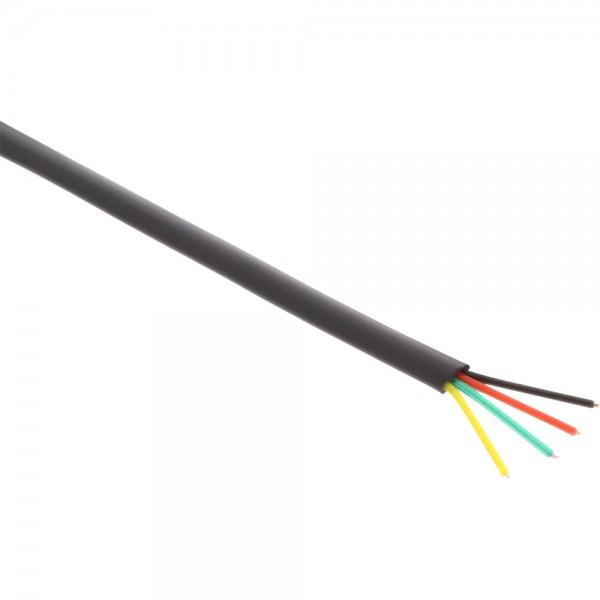 InLine® Modularkabel, 4adrig Flachband schwarz, 100m Ring