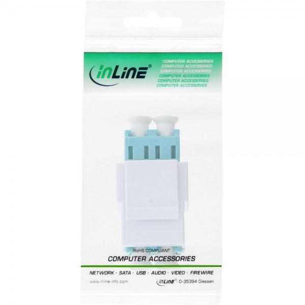 InLine/® LWL Keystone Snap-in Kupplung wei/ß t/ürkis multimode Keramik-H/ülse Duplex LC//LC