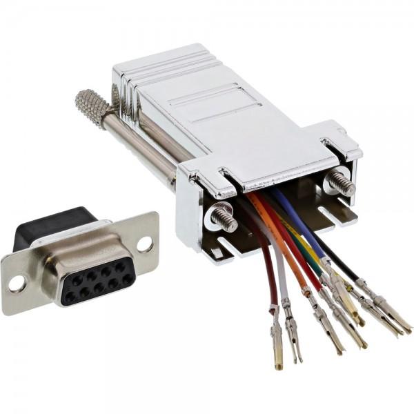 InLine® Adapter, 9pol Sub D Buchse an RJ45 Buchse, metallisiert