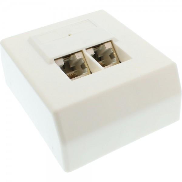 InLine® Cat.5e Anschlussdose, AP 2x RJ45 Buchse, RAL 9010, weiß