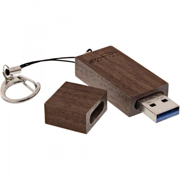 InLine® woodstick USB 3.0 Speicherstick, Walnuss Holz, 32GB