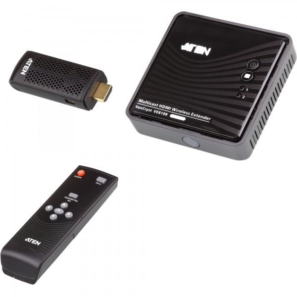 ATEN VE819 HDMI Dongle Wireless Extender 10m, WHDI, FullHD, 3D, 5.1 Audio, Fernbedienung