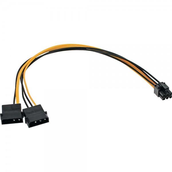 InLine® Stromadapter intern, 2x4pol zu 6pol für PCIe (PCI-Express) Grafikkarten