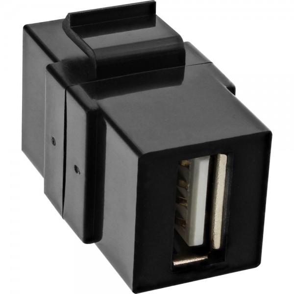 InLine® USB 2.0 Keystone Snap-In Einsatz, USB A Buchse/Buchse, schwarzes Gehäuse