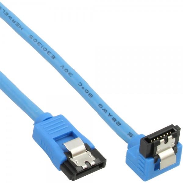 InLine® SATA 6Gb/s Anschlusskabel rund, abgewinkelt, blau, mit Lasche, 0,3m