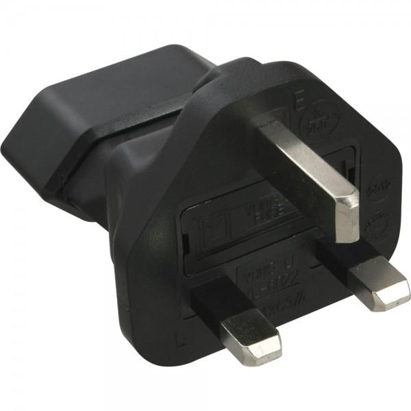InLine® Reiseadapter, England UK Stecker auf Euro-Steckdose, 3 Ampere