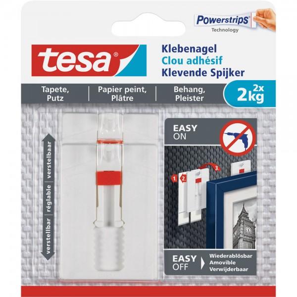 tesa Klebenagel, 2 Stück, für Tapeten und Putz, bis zu 2kg pro Nagel, verstellbar, weiß