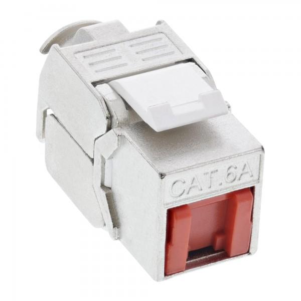 InLine® Keystone RJ45 Buchse / LSA Einsatz, SNAP-In, Cat.6a, mit Staubschutz rot