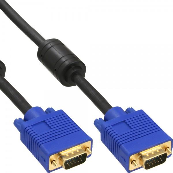InLine® S-VGA Kabel Premium, 15pol HD Stecker / Stecker, schwarz, 0,5m