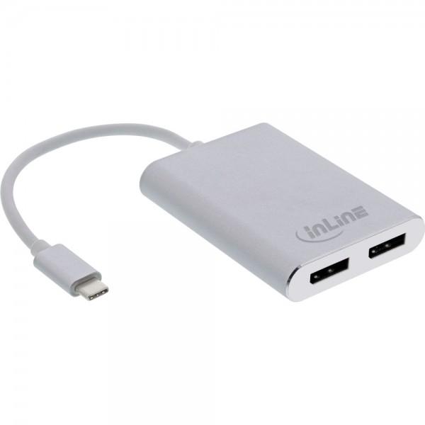 InLine® USB Dual Display Konverter, USB Typ-C zu 2x DisplayPort Buchse (DP Alt Mode), 4K, weiß, 0.1m