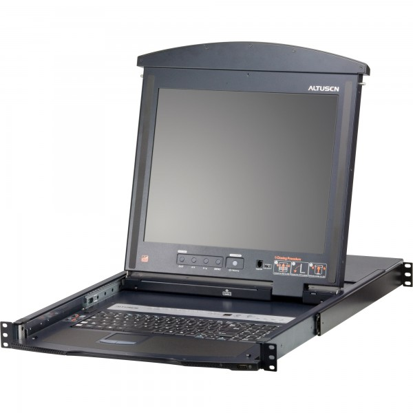 "ATEN KL1508AN KVM-Switch 8-fach mit 19""-Display, 19-Zoll-Rackmontage, 1HE, DE-Layout"