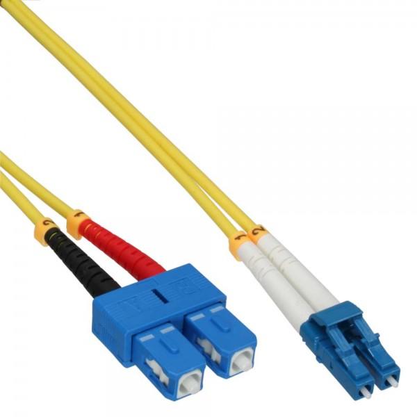 InLine® LWL Duplex Kabel, LC/SC, 9/125µm, OS2, 15m