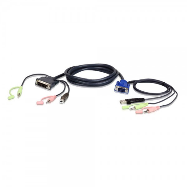 ATEN 2L-7DX2U KVM Kabelsatz, VGA auf DVI-A, USB, Audio, Länge 1,8m