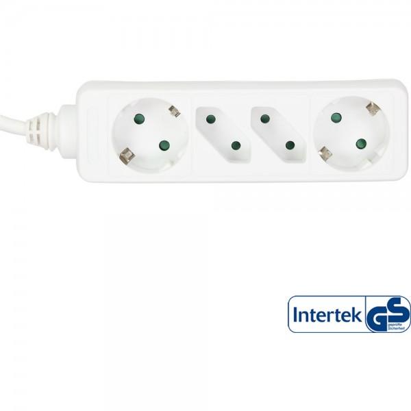 InLine® Steckdosenleiste, 4-fach, 2x Schutzkontakt + 2x Euro, 5m, weiß