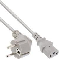 InLine® Netzkabel, Schutzkontakt gewinkelt auf Kaltgerätestecker C13, 1,0m, grau