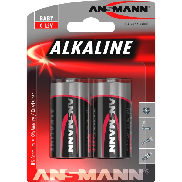 ANSMANN 1513-0000 Alkaline Batterie Baby C 7,2mAh, 2er-Pack
