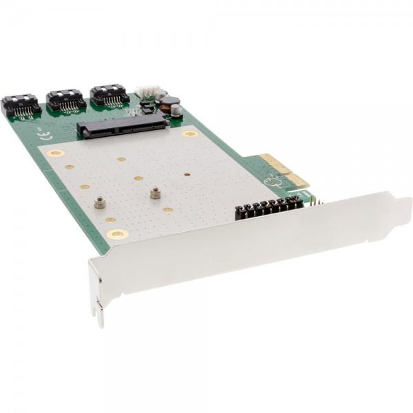 InLine® Schnittstellenkarte, 3x + 1x SATA 6Gb/s, RAID 0,1,10 JBOD, mit 2x M.2 (NGFF), PCIe 2.0 (PCI-Express)
