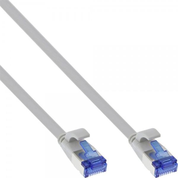 InLine® Patchkabel flach, U/FTP, Cat.6A, TPE halogenfrei, grau, 5m