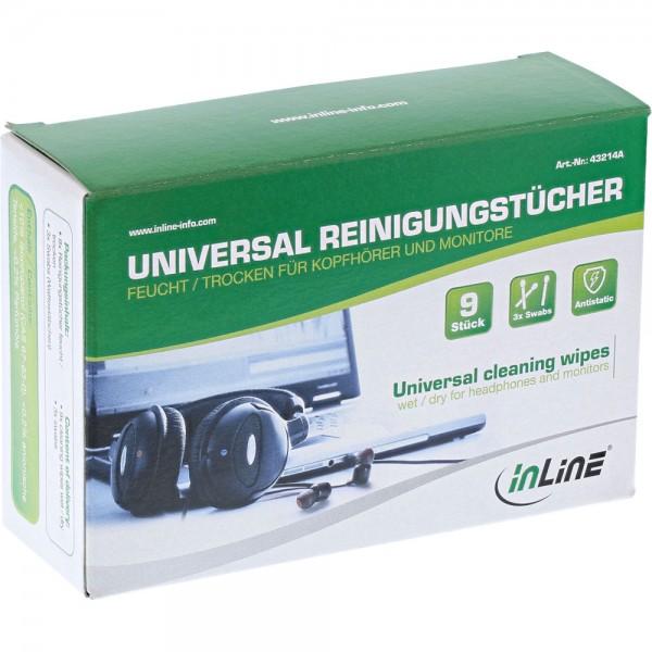 InLine® Universal Reinigungstücher nass/trocken für Kopfhörer und Monitore