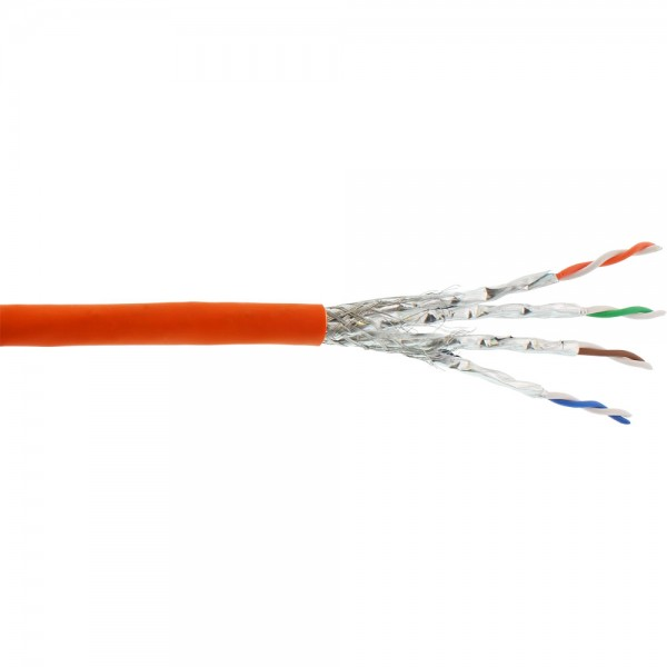 InLine® Verlegekabel Cat.7a, S/FTP (PiMF) 4x2x0,58 AWG23, 1200MHz, halogenfrei, orange, 300m
