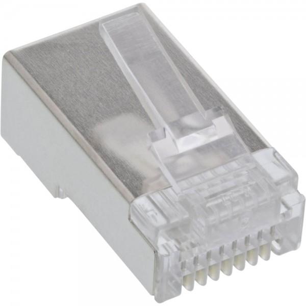 InLine® Modularstecker 8P8C RJ45 zum Crimpen auf Rundkabel, geschirmt, 10er Pack