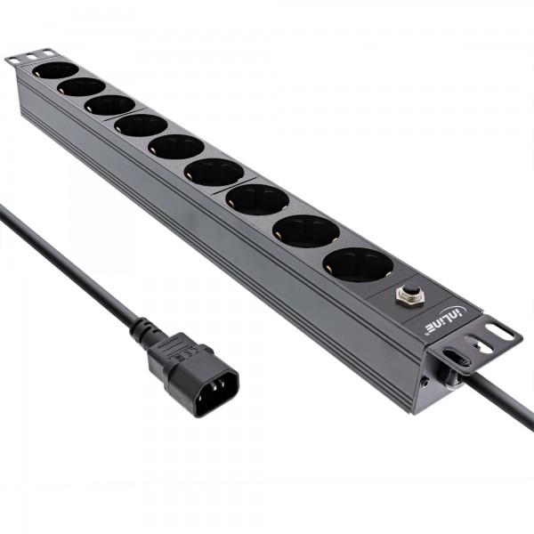 """InLine® 19"""" Steckdosenleiste, 9-fach Schutzkontakt, C14 Stecker, Überlastschutz"""