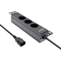 """InLine® 10"""" Steckdosenleiste, 3-fach Schutzkontakt, C14 Anschluss, ohne Schalter, 2m, schwarz"""