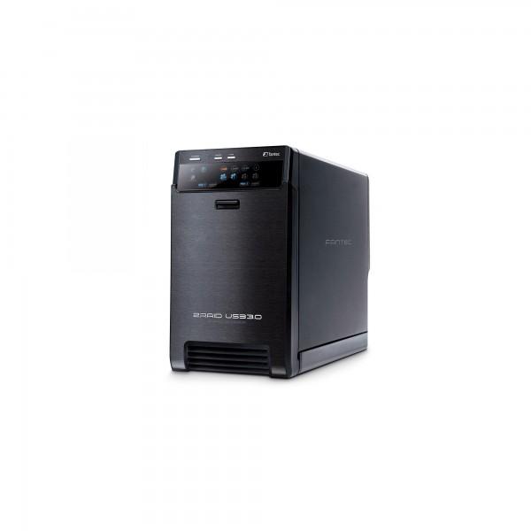 FANTEC QB-X2US3R, HDD-RAID-Gehäuse mit USB 3.0 für zwei SATA-I/II/III-Festplatten, schwarz