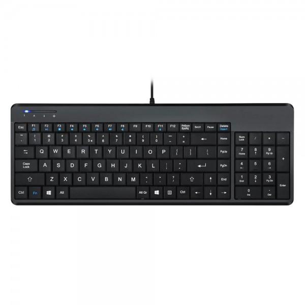 Perixx PERIBOARD-220 H, DE, Kompakte USB-Tastatur, Hub, schwarz