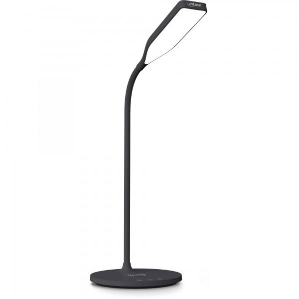 InLine® SmartHome LED Tischleuchte mit Qi-Ladefläche und USB Ausgang, schwarz