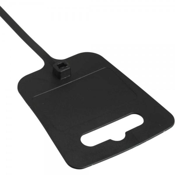 InLine® Kabelbinder mit Markierfeld und Eurolochung, Länge 200mm, Breite 5mm, schwarz, 100 Stück