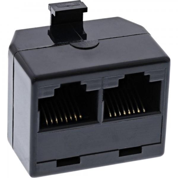 InLine® ISDN Verteiler, 1x RJ45 Stecker an 2x RJ45 Buchse, ohne Endwiderstand