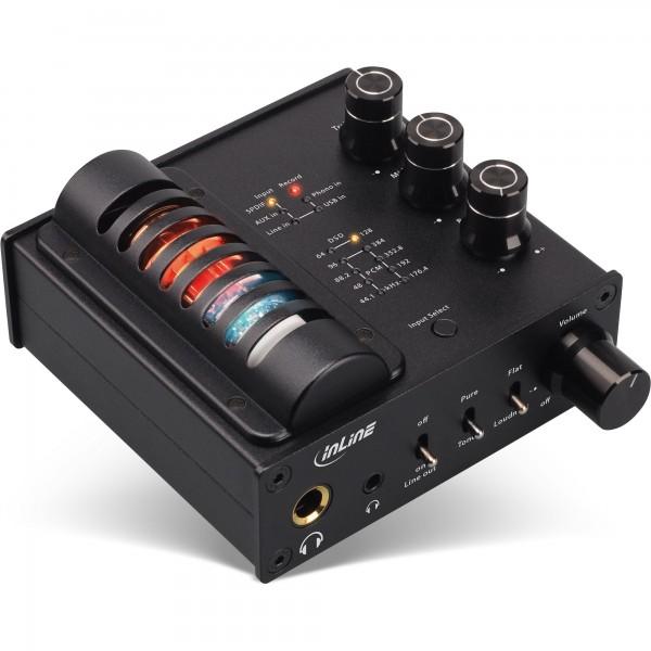 InLine® AmpUSB-EQ, Hi-Res AUDIO HiFi DSD Kopfhörer-Röhrenverstärker+Equalizer, USB DAC