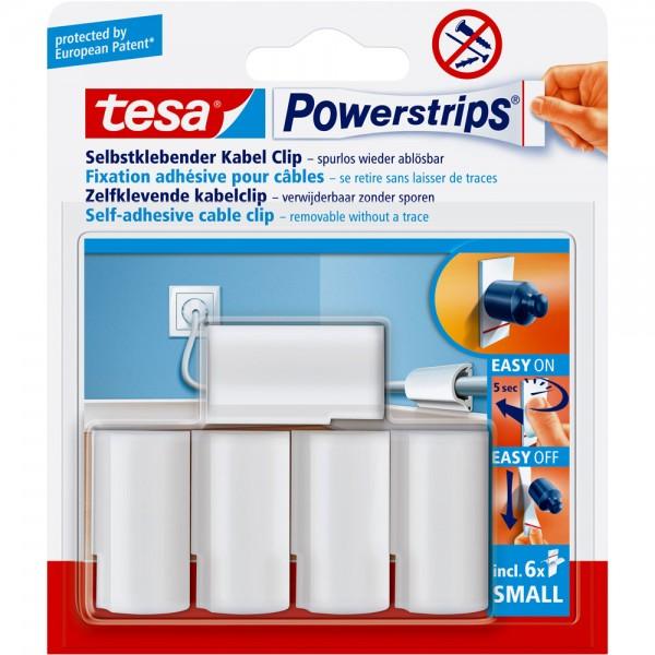 tesa Powerstrips Kabel-Clip, weiss, 5 Stück