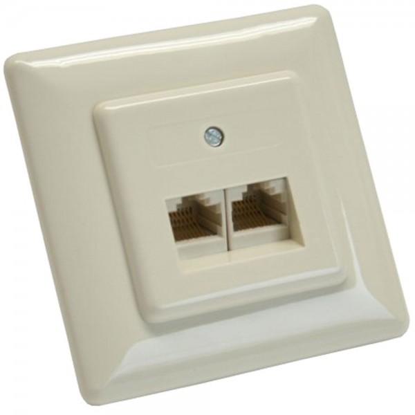 InLine® ISDN Anschlussdose, 2x RJ45 Buchse, Unterputz, Schraubanschluss 2x 8-fach