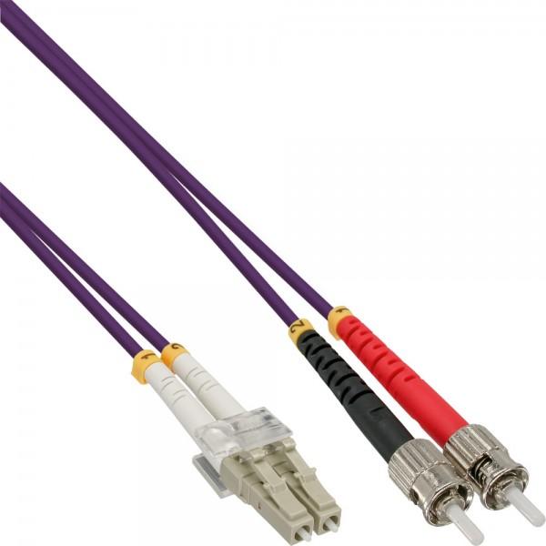 InLine® LWL Duplex Kabel, LC/ST, 50/125µm, OM4, 1m