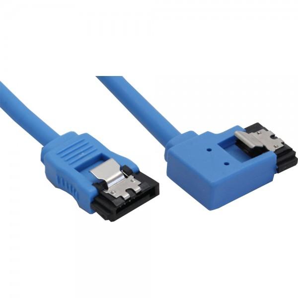 InLine® SATA 6Gb/s Anschlusskabel rund, abgewinkelt links, blau, mit Lasche, 0,15m