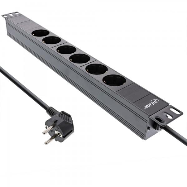"""InLine® 19"""" Steckdosenleiste, 6-fach Schutzkontakt, ohne Schalter, 2m, schwarz"""