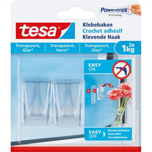 tesa Klebehaken, 2 Stück, für transparente Oberflächen und Glas, bis zu 1kg pro Haken, transparent