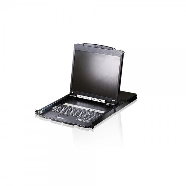 "ATEN CL5808N KVMP-Switch 8-fach, Slideaway-Konsole mit 19""-Display, USB, PS/2, Dual Rail, DE-Layout"