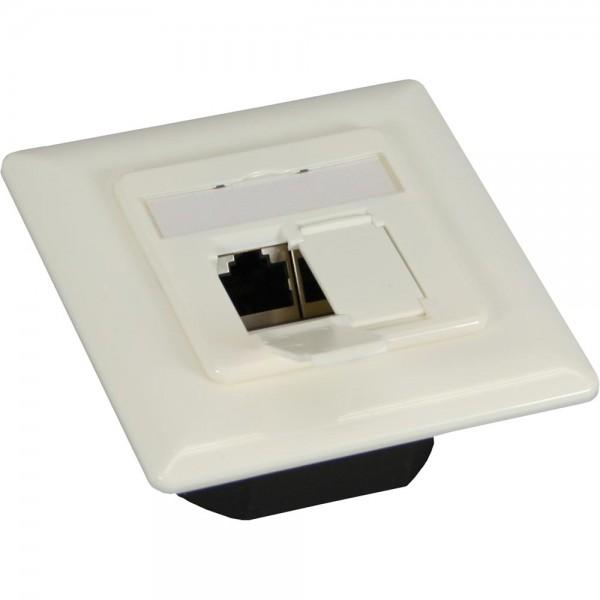 InLine® Cat.6 Anschlussdose Unterputz, 2x RJ45 Buchse, RAL9010 weiß, waagrecht