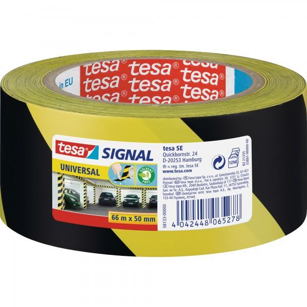 tesa Signalmarkierungsklebeband universal, 66m x 50mm, gelb/schwarz