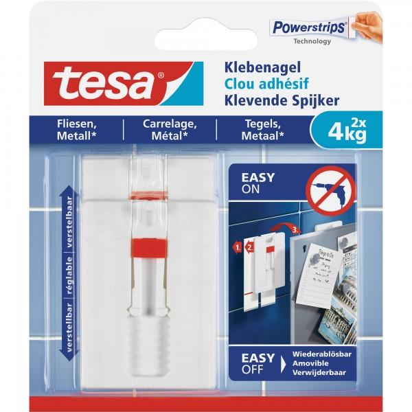 tesa Klebenagel, 2 Stück, für Fliesen und Metall, bis zu 4kg pro Nagel, verstellbar, weiß