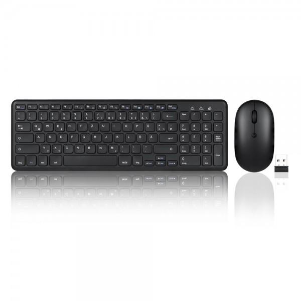 Perixx PERIDUO-613 B, DE, Tastatur- und Maus-Set, USB kabellos, kompakt, schwarz