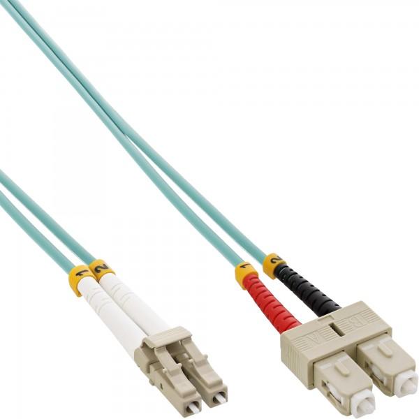 InLine® LWL Duplex Kabel, LC/SC, 50/125µm, OM3, 20m