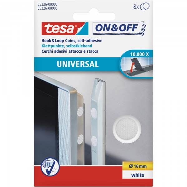 tesa On- & Off-Klettpunkte zum Aufkleben, 8er-Pack (Ø16mm), weiß